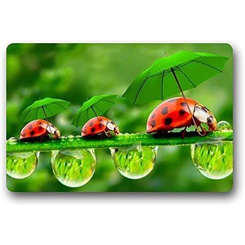 KDU Mode Badkamer Tapijt, Beste Grappige Lieveheersbeestje Paraplu Drops Deur Mat Wasbare Deurmat Grappige Welkom Entree Mates,80 * 50 Cm