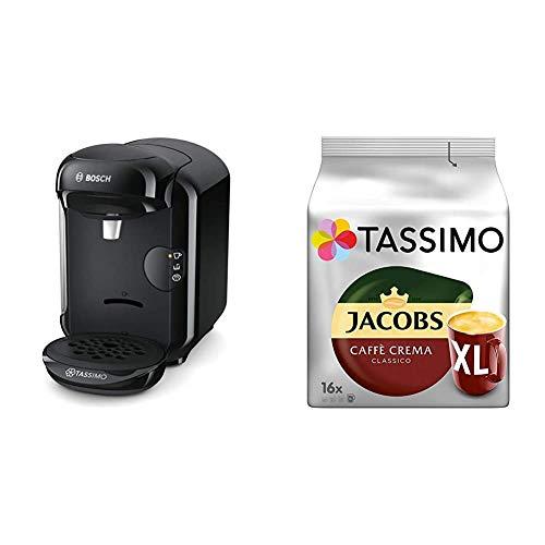 Bosch TAS1402 Tassimo Vivy2 Kapselmaschine, über 70 Getränke, vollautomatisch, geeignet für alle Tassen, kompakte Größe + Tassimo Kapseln Jacobs Caffè Crema + Latte Macchiato + Milka + Probierbox