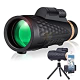 Monocular Telescope, 16x55 HD Smartphone Monocular for Adults, Upgrade Day & Low Night Vision BAK4 Zoom Monocular with Phone Holder and Tripod for Bird Watching Hunting Hiking (Black 2)