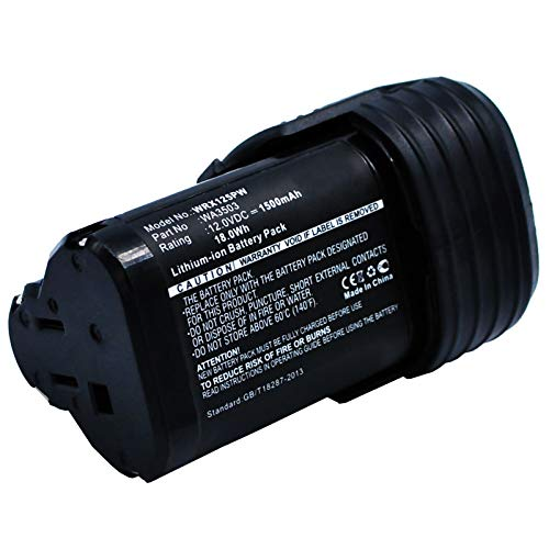subtel® Batería Premium 12V, 1500mAh, Li Ion Compatible con Worx WX128, WX382, WX126,WX382.3, WX125, WX540.3, WX540 bateria de Repuesto WA3503, WA3505, WA3509 Pila