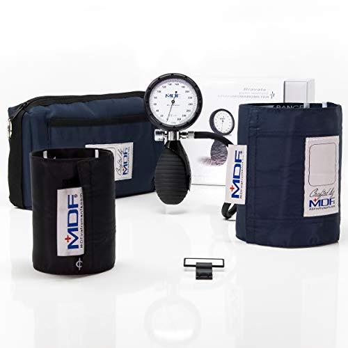 MDF® Bravata® Palm Aneroid Blutdruckmessgerät - professionelles Blutdruckmessgerät - Erwachsene / Kinder Manschette inbegriffen & Lebenslange Garantie/Free-Parts-for-Life - Marineblau (MDF848XPD-04)