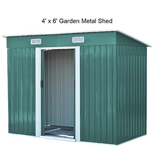 The Fellie Garden Metal Pent 4FT X 6FT Garden Metal Storage Shed 194x121x182cm (LxWxH), Green