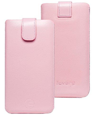 Favory ® Etui Tasche für / LG WineSmart / Handytasche Ledertasche Schutzhülle *Lasche mit Rückzugfunktion* In Rosa