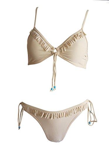 Buffalo 341746 - Bikini con joyas y franjas (talla 34), color beige