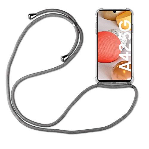 betterfon | Samsung Galaxy A42 5G Handykette Smartphone Halskette Hülle mit Band - Schnur mit Hülle zum umhängen Handyhülle mit Kordel zum Umhängen für Samsung Galaxy A42 5G Grau