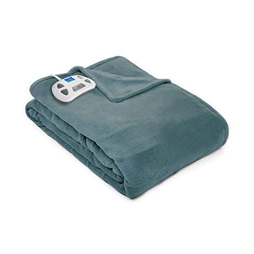 Pure Warmth 874225 Plush Electric Heated Warming Blanket Twin Bay Blue Washable Auto Shut Off 10 Heat Settings