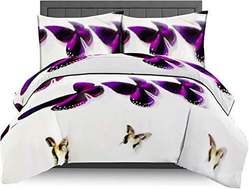 AMEHA Duvet Cover Set Reversible 3D Print 4 Piece Bedding Set with Pillow Case and Free Fitted Sheet (Single, Adele)