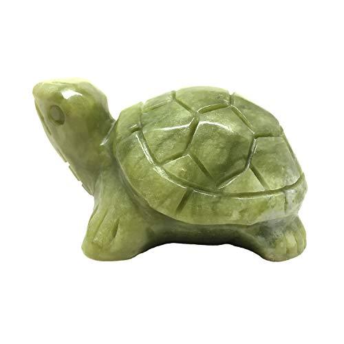 Nelson Creations, LLC Turtle Natural Serpentine Jade Gemstone Animal Carving Charm Totem Figurine, 3 Inch