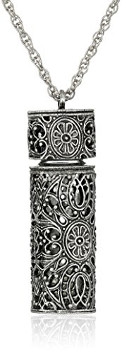 1928 Jewelry Womens Antiqued Pewter Filigree Covered 3.69 ml Glass Vial Pendant Enhancer, 30