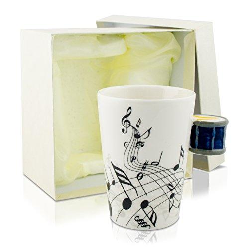 Grinscard Keramiktasse mit Motiv Henkel - Weiß & Bedruckt Trommel Design 0,2l - Tee & Kaffee Tasse zum Verschenken