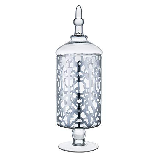 "Diamond Star Clear Glass Apothecary Jars, Candy Buffet Display, Elegant Storage Jar, Decorative Wedding Candy Organizer Canisters (Height: 15"" Body: 5"")"