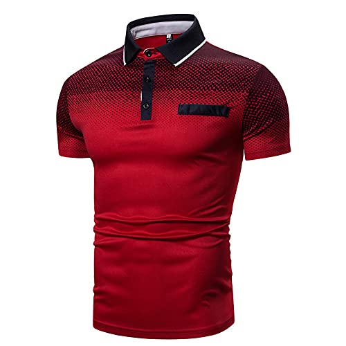 FDJIAJU Kurzarm Polo T Shirts Für Herren - Daily Casual Topsshort-Sleeved T-Shirt Summer Men's Business Lapel Quick Drying Breathable Polo Shirt,Red,M