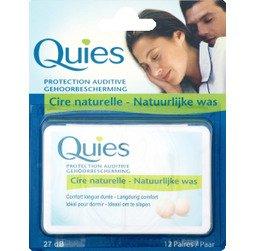Quies - Protection auditive, cire naturelle, confort longue durée, idéal pour dormir, 27 décibels - Le blister de 12 paires