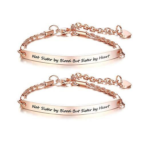 VNOX 2 Stück BFF Freundschaft Schwester Inspirierende Zitat Bar Armband Gravierte Edelstahl Link ID Kette für Frauen Mädchen,Weihnachten/Geburtstagsgeschenk,Länge Einstellbar