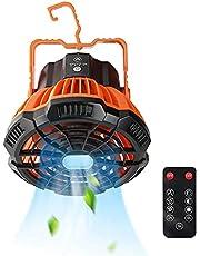 StilCool Tafelventilator met afstandsbediening, klein, 5200 mAh, 180 graden rotatie, met ledlicht en haak, voor kamperen, reizen, tent, kantoor, slaapkamer
