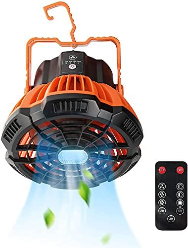 Camping Ventilator, StilCool Tleise Ventilator mit LED Lichter Tischventilator 5200mAh 180°Rotation Zeltventilator mit fernbedienung für Camping Reisen Zelt Büros Schlafzimmer