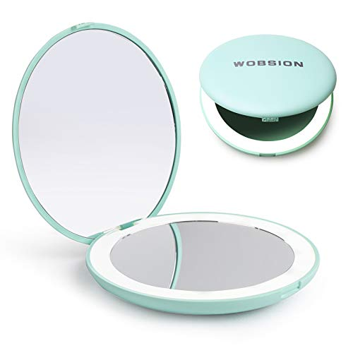 wobsion LED Lighted Travel Makeup Mirror, 1x/10x Magnification Compact Mirror, Portable for Handbag, Purse, Pocket, 3.5 inch Illuminated Folding Mirror, Handheld 2-Sided Mirror, Round, Cyan