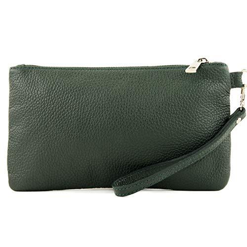 modamoda de - T193 - ital. Clutch/Handgelenktasche Leder Small, Farbe:Schwarzgrün