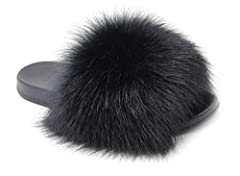 The upper is full of Fur,very thick, Fluffy and cute, try it with 30 days free return window Fashion fur slides, comfort with a splash of furry style.go with just about every outfit. A house slippers and also a flip flops/slides for indoor and outdoo...