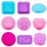 18 pezzi stampi per sapone in silicone,fatti a mano stampo sapone fai da te morbido fabbricazione forniture cupcake muffin caramelle Stampo per sapone stampo per artigianale fatto in casa-quadrato