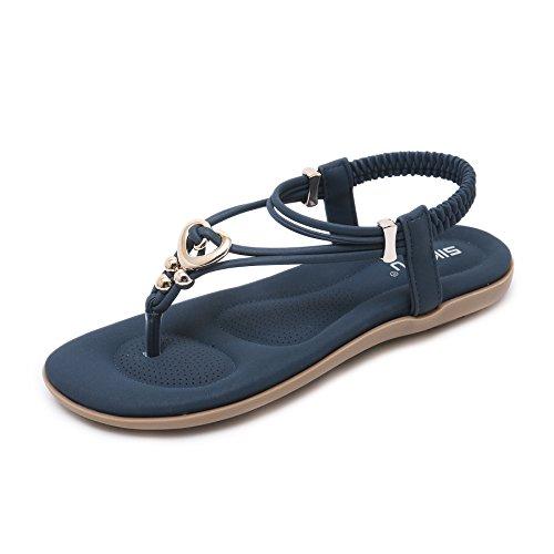 Atmungsaktive Mode Sandalen für Damen Bequeme lässige Flip-Flops Zehentrenner Flache Strandschuhe für Frauen Sommer