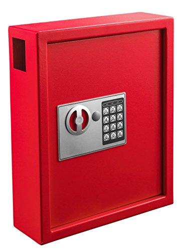 AdirOffice 40 Keys Cabinet with Digital Lock - Electronic Key Safe - Pin Code Keyless Storage Box for Keys - Secure Steel Lockbox - Scratch Resistant Powder Coated - Wall Anchor (Red)