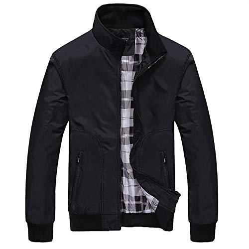 Men's Autumn Winter Casual Zipper Pure Color Cashmere Thicken Jacket Coat Stand Collar Lightweight Outerwear Overcoat Black