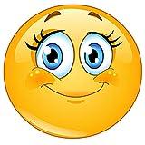 easydruck24de Smiley-Aufkleber Wimpern I kfz_290 I rund Ø 10 cm I Süßer Emoticon Sticker für Laptop Notebook Tür Roller Auto I Wetterfest
