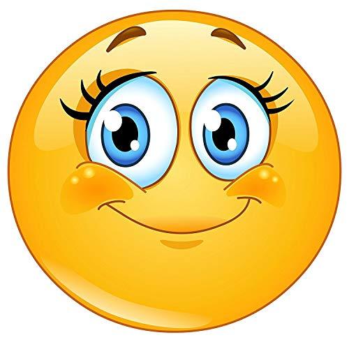 easydruck24de XL Smiley-Aufkleber Wimpern I kfz_292 I rund Ø 30 cm I Süßer Emoticon Sticker für Tür Auto Wohnmobil und vieles mehr I Wetterfest