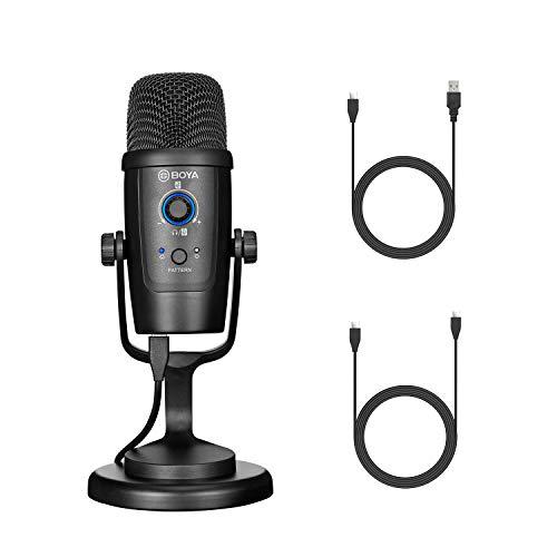 BOYA PM500 Micrófono USB con Cable USB-A y USB-C Compatible con computadoras Windows y Mac La mayoría de los Dispositivos Tipo C para Podcast, transmisión, Juegos, vloggig, Trabajo