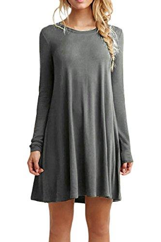 OMZIN Damen Oversized Shirt Kleid Locker lässig Swing Flowy Kleid Grau M