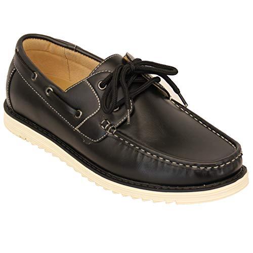 Hommes Chaussures Bateau En Cuir Volant Dentelle Vers Le Haut Pont Galax Décontracte Été Mode Neuve - Noir - GH4101, 6.5 UK