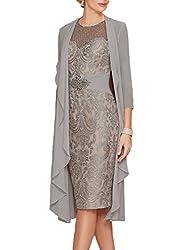 Gray Echo Lace  Dress With Rhinestone Belt & Chiffon Jacket