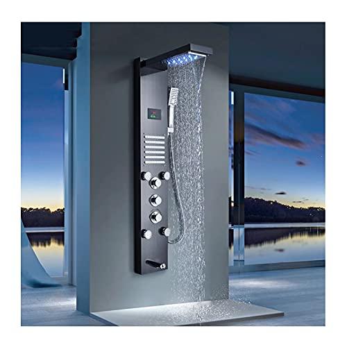 HAUSELIEBE Panel de Ducha con LED Pantalla de Temperatura, En Acero Inoxidabl 5 Funciones Columna de Ducha Hidromasaje Montaje En Pared Panel de Ducha,Negro
