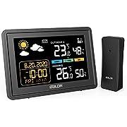 BACKTURE Stazione Meteo, Stazione Meteorologica Wireless con Sensore Esterno, Termometro Igrometro Digitale Interno con Ampio Schermo LCD Display Sveglia Tempo Data Temperatura