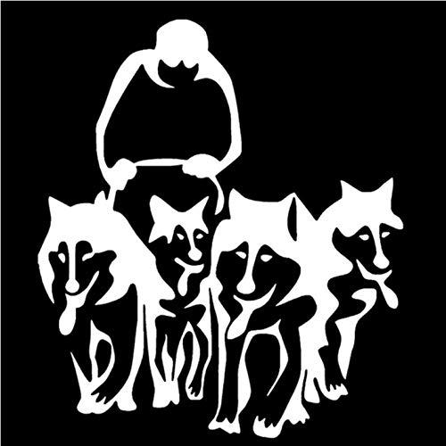 Empty 3 stuks autostickers 14,7 * 16,8 cm Husky honden en slee vinyl sticker creatieve autosticker auto styling truck decoratie