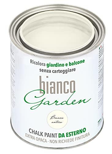 CHALK PAINT Pittura Speciale PER ESTERNI Bianco Antico - biancoGarden - Ricolora giardino e balcone SENZA CARTEGGIARE e SENZA FINITURA (1 Litro)