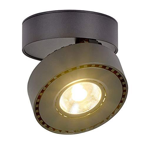 LANBOS 12W LED Aufbauleuchte Deckenleuchte/Deckenspots, Deckenfluter, Deckenstrahler, Decken-Lampe, Wand-Lampe/10x10x6CM/ COB Lampe/Aluminium (Schwarz+warmweiß)