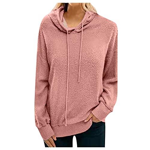WAo Mujeres Terciopelo Fleece Hoodie Moda Manga Larga Invierno Cálido Sudadera con Capucha Sudaderas Color Sólido Jersey Jersey Tops, rosa, XXL