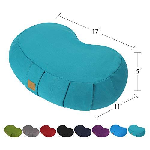 FelizMax Crescent Zafu Meditation Pillow, Zabuton Yoga Bolster, Meditation Cushion, Floor Pouf, Yoga Pillow, Zippered Organic Cotton Cover, Natural Buckwheat, Kneeling Pillow - Large (Cyan Blue)