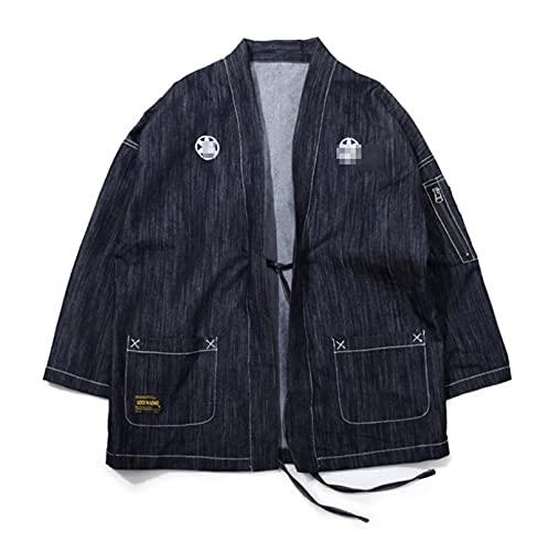 Chaqueta Tipo cárdigan Kimono para Hombre Chaqueta cárdigan Frontal de Color sólido con Siete Mangas de algodón Chaqueta de Albornoz Ligera con cárdigan Frontal Informal (Color : Black, Size : 4XL)