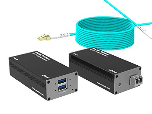 USB 3.0 Fiber Optic Extender/Repeater, SuperSpeed 5Gbps, 2 Ports, USB...