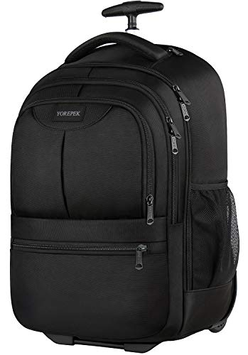 Large Rolling Backpack, Wheeled Laptop Backpack Fit 17 Inch Laptops for Men Women,Water Resistant Trolley College School Bookbag, Carry on Luggage Suitcase Bag for Business Travel School,Black