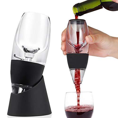 Decantatore per vino con piedistallo per decantatore di vino, senza gocciolamento, set di decanter per vino, con supporto solido e borsa da viaggio