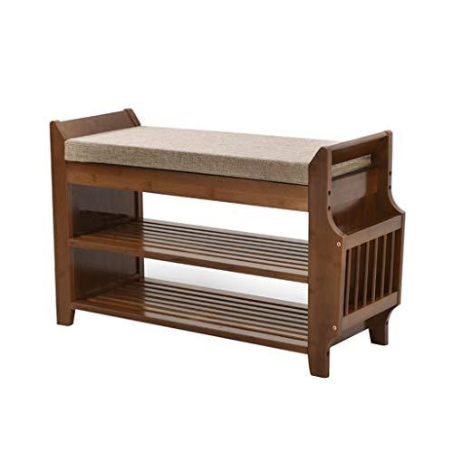 Almacenaje de Zapatos de 2 Niveles, bandejas de bambú, Estante de Almacenamiento extraíble con cajón y Perchero LIFFMallJC (Color : Simple-2)