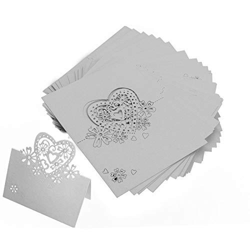 BIYM 50X Laser Cut Hart Tafel Naam Kaart Plaats Kaart Wit Voor Bruiloft Verjaardag Party