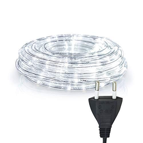 Hengda LED Lichtschlauch, 10m Lichterkette, Weiß Lichtschläuche Wasserdicht, Lichtschläuche für Innen Außen Deko, Party, Hochzeit, Balkon, Garten, Weihnachtsbaum