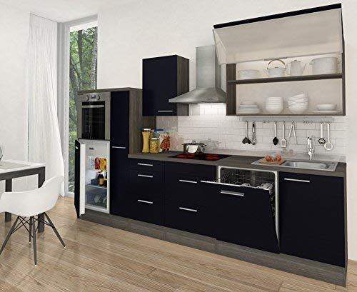 respekta Premium Küchenzeile Hochbau 310 cm eiche-grau schwarz HG APL eiche-grau - RP310HES