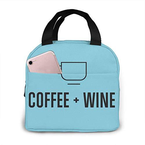 Bolsa de almuerzo portátil con aislamiento térmico con cierre de cremallera para café, vino, reutilizable, para adultos