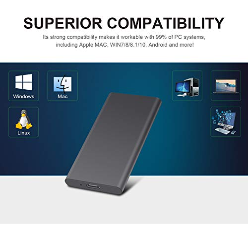 Jetzz External Hard Drive 2TB Ultra Slim Portable Hard Drive External Type C USB3.1 Mini HDD Storage Compatible for PC, Mac, Laptop (2TB, Black)